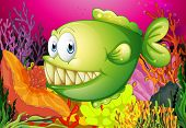 foto of piranha  - A green piranha under the sea - JPG