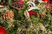 picture of fir  - christmas background with toys - JPG