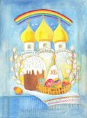 image of batik  - The image of the Easter in the temple batik - JPG