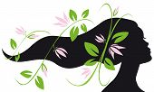 image of flowing hair  - woman silhouette profile with long hair and flowers flowing - JPG