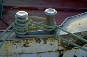 image of node  - Mooring node closeup on wooden deck of a boat - JPG