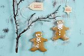 picture of christmas cookie  - Merry Christmas festive baking concept with gingerbread cookies on vintage style recycled wood background - JPG