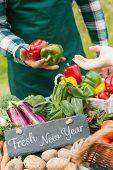 picture of farmer  - Fresh New Year against fresh vegetables at farmers market - JPG