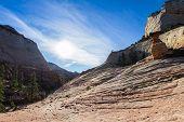 image of hoodoo  - interesting sandstone formations in Zion National Park also known as hoodoos  - JPG