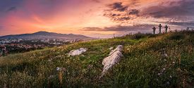 image of calvary  - Village under a Hill at Sunset - JPG