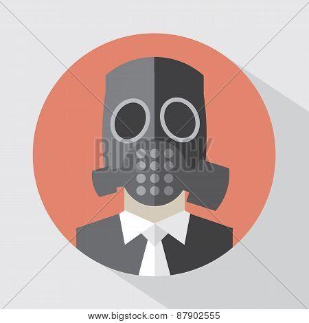 Flat Design Poison Gas Mask.