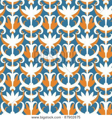 Abstract Floral Seamless Pattern. Classic Ornament In Retro Style