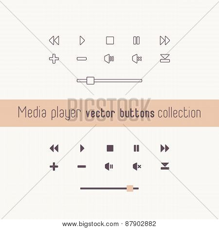 Media Player Linear Icons Collection