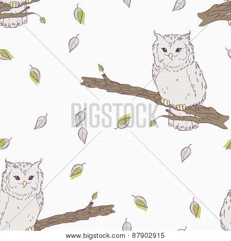 Cute Childrens Floral Seamless Pattern With Owl Bird