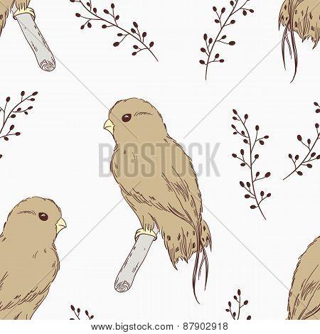 Hand Drawn Bird Seamless Pattern