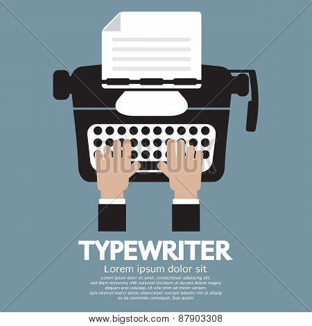 Flat Design Of Typewriter The Classic Typing Machine.