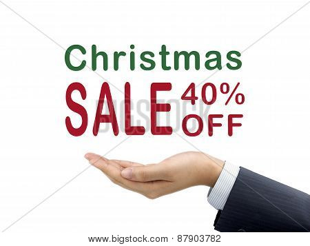 Christmas Sale 40 Percent Off Holding By Businessman's Hand