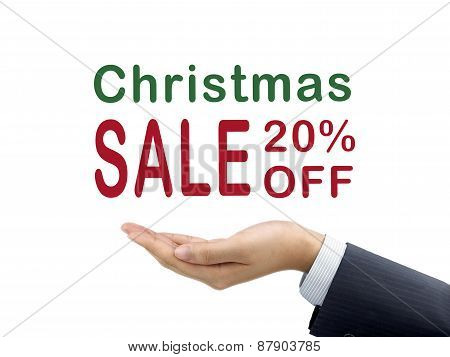 Christmas Sale 20 Percent Off Holding By Businessman's Hand