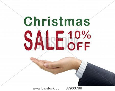 Christmas Sale 10 Percent Off Holding By Businessman's Hand
