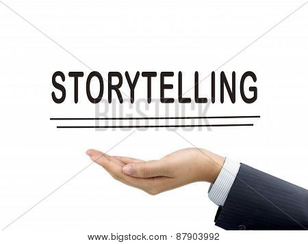 Storytelling Word Holding By Businessman's Hand