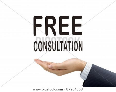 Free Consultation Words Holding By Businessman's Hand
