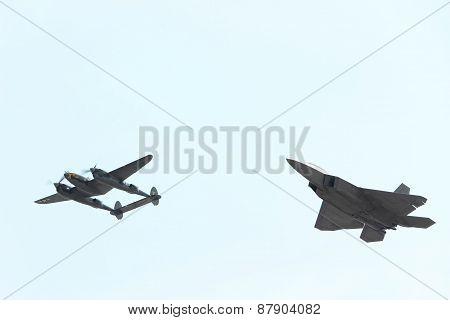 F-22 and P-38 Heritage Flight