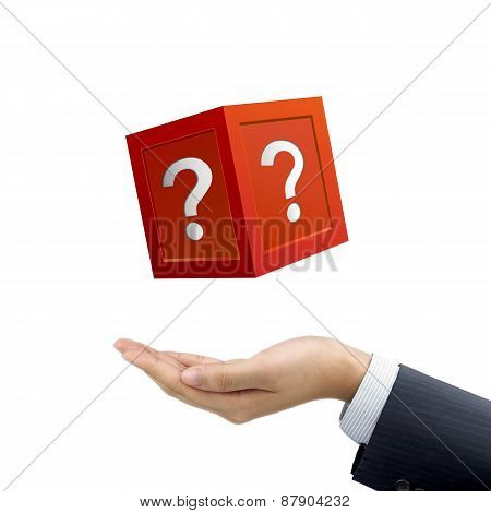 Businessman's Hand Holding Mysterious Box