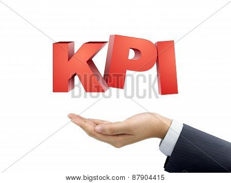 Businessman's Hand Holding Kpi Words