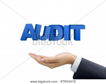 Businessman's Hand Holding Audit Words