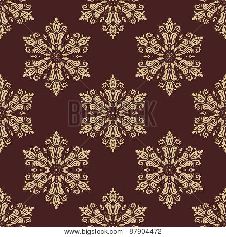 Floral Seamless  Golden Pattern. Orient Abstract Background