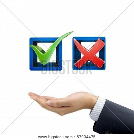 Businessman's Hand Holding Red And Green Check Mark Icons