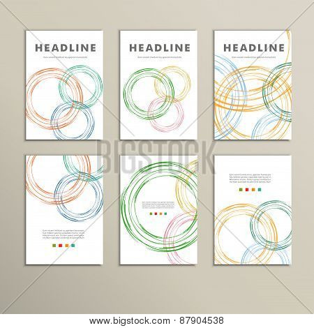 Set vector color line twirl round design