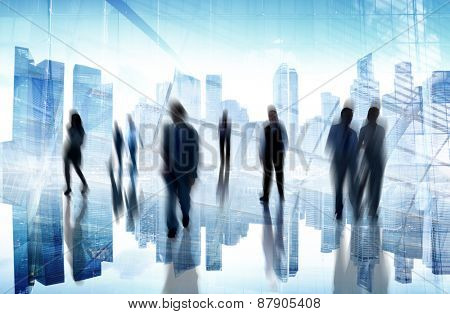 Business People Commuter Cityscape Busy City Life Lifestyle