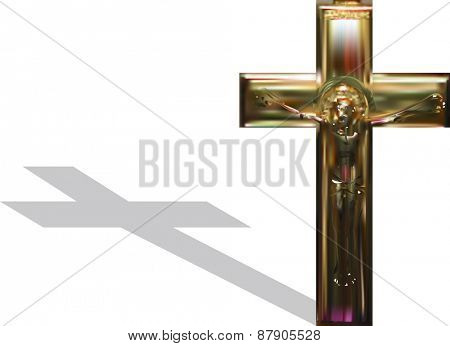 illustration with gold cross isolated on white background