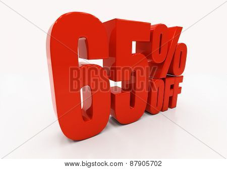 65 percent off. Discount 65. 3D illustration
