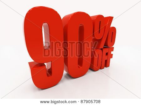 90 percent off. Discount 90. 3D illustration
