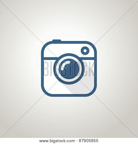 Vintage photo camera icon. Minimalism illustration concept