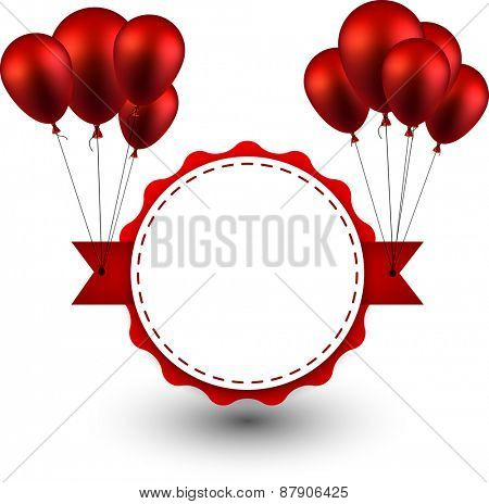 Award ribbon background with red balloons. Vector illustration.