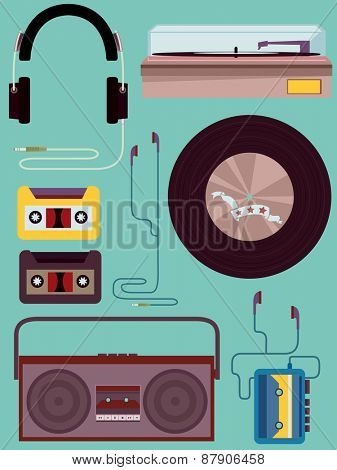 Vintage Style Illustration of Different Music Elements