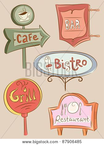 Illustration of a Collection of Sign Boards for Different Food Establishments
