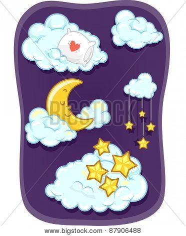 Illustration of the Moon and the Stars Sleeping on the Clouds