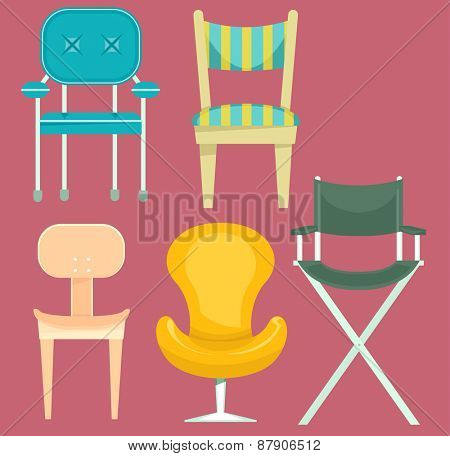 Illustration of Chairs with Different Designs