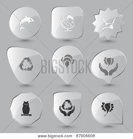 Animal set. Raster glass buttons.
