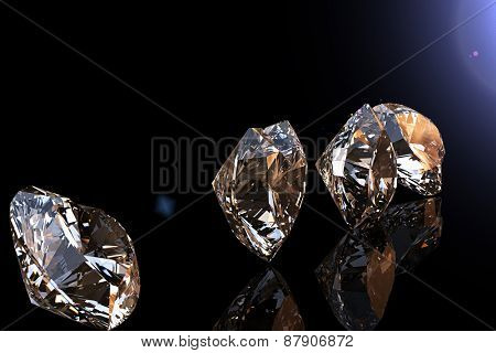 Jewelry Background with  gemstones. Cognac Diamond