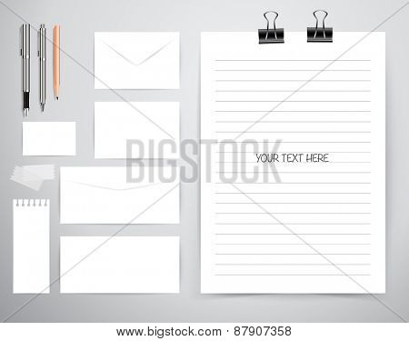 Note book, note papers and pen, Business working elements for web design , mobile applications, social networks.