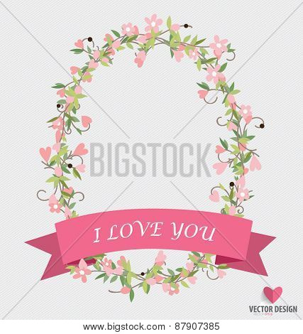 Floral bouquets with ribbon and heart, vector illustration.