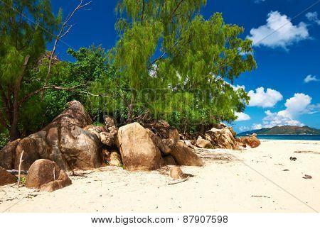 Beautiful rocky beach at Seychelles