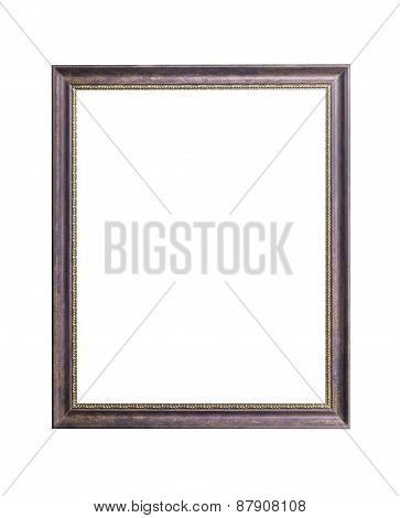 Wooden Frame And Golden Border Isolated