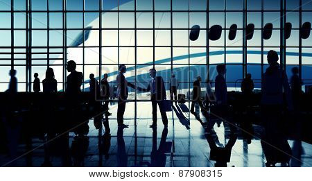 Business Travel Handshake Communter Terminal Airport Concept