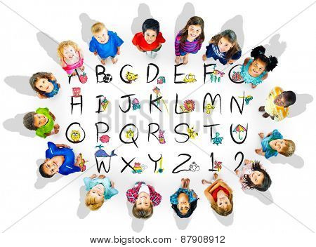 English Alphabet Letters Number Education Concept