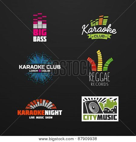 Fifth set music equalizer emblem vector on dark background