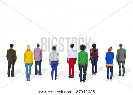 Multiethnic Group of People Standing Rear View