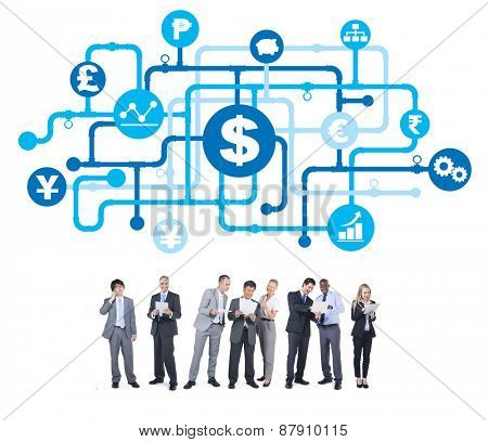 Group of Business People with Global Finance Concept