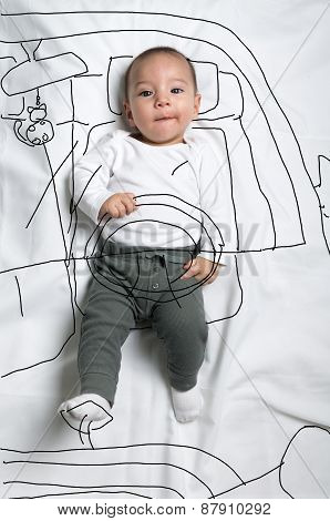 Cute baby boy driver decoration sketch