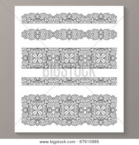Set of seamless lace borders with transparent background